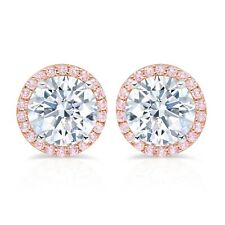 Authentic CRISLU Fiore Pink Halo Stud Earrings
