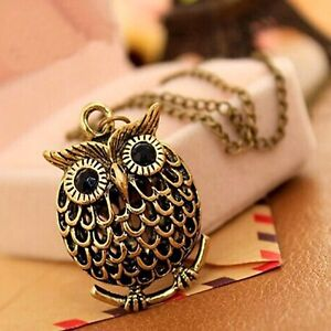 BLACK AND GOLD OWL NECKLACE PENDANT