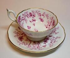 Vintage COALPORT Bone China England Pink CAIRO Set Footed Cup & Saucer #9252