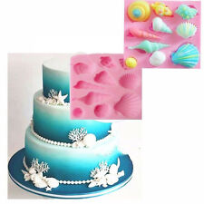u% Silicone 3D Starfish Sea Shells Mould Fondant Cake Chocolate Mold Decor Tool