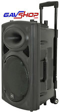"Portable 15"" Active PA Speaker Inc Twin Radio Mics USB SD Remote Fitness Busking"