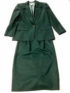 Pendelton Green skirt suit women's 10 virgin wool USA EUC