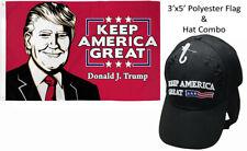 3x5 Donald J Trump Keep America Great & Trump 2020 Keep America Great Black Hat