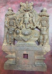 Antique Hindu God Ganesh Wood Panel