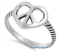 Sterling Silver 925 PRETTY HEART WITH PEACE SIGN DESIGN PROMISE RING SIZES 5-11