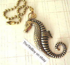Victorian Seahorse Ceiling Fan Pull Chain Antiqued Brass Ball Chain Light Pull