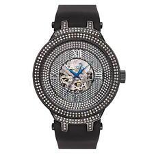 Joe Rodeo JJM73 Master Man Diamond Watch, Black-Encrusted Dial with Black Band