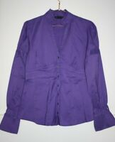 Zara Woman Women's Office Purple Cotton Rich Long Sleeve Shirt Blouse Top Size M