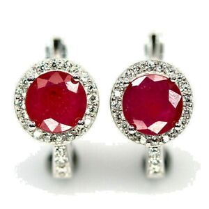 PRETTY NATURAL RED PINK RUBY EARRINGS WITH WHITE CZ ACCENTS .925 STERLING SILVER