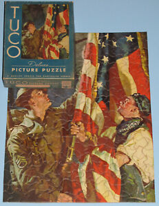 "VINTAGE TUCO DELUXE PUZZLE ""SHOW YOUR COLORS"" RAISE U.S. FLAG PATRIOTIC WW II -1"