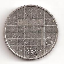 1992 The Netherlands 1 G Coin Dutch Holland Gulden
