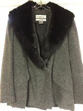 Mary McFadden COLLECTION Jacket Sz 16 Lined Imitation Fur Collar Gray Tweed