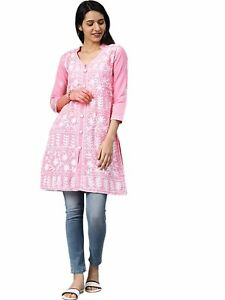 Regular casual Wear Womens Cotton Regular Kurta pink and white Solid Type