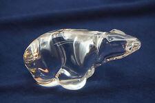 POLAR BEAR FIGURINE HADELAND CRYSTAL ART GLASS NORWAY 3in SIGNED FIGURE STATUE