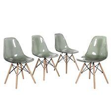 Set di 4 Sedie Sedia acrilico trasparente gambe in legno di faggio GRIGIO