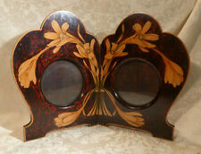 Antique Art Nouveau Floral Painted Folding Wood Double Portrait Photograph Frame