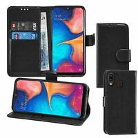 black WALLET Leather phone Case Card Slots for Samsung Galaxy A30 UK free post