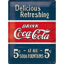 Coca Cola, Delicious Refreshing, Retro Old Shop, Large 3D Metal Embossed Sign