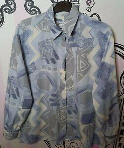 Size 18 Vintage Italian Grey Abstract Print Semi Sheer 3/4 Sleeve Blouse Shirt