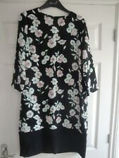 M&s Dress Size 12 Black White Pink Floral Ladies Girls Summer Holiday