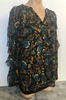 International Concepts Woman Black, Turquoise & Brown Ruffle Shirt Top Sz 2X