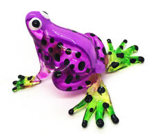 Miniature Blown Glass Blowing Art Frog Purple Animal Decor Collectible Souvenir