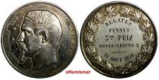 FRANCE NAPOLEON III Silver 1858 MEDAL by Barre.Regattas de Monte-Cristo. 50mm