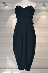 Unworn Vintage Vampy 1980s Strapless Belted Tulip Wiggle Dress - UK 6