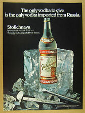 1978 Stolichnaya Russian Vodka stoli bottle ice block photo vintage print Ad