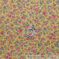 BonEful Fabric FQ Cotton Quilt VTG Yellow Pink Blue Green Antique Rose Flower S