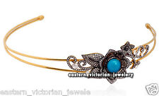 Antique Vintage 6.67cts Rose Cut Diamond Turquoise Jewelry Silver Headband Tiara