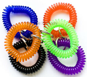 12 NEW SPIRAL WRIST COIL KEY CHAIN KEY RING HOLDER - 6 COLOR AVAILABLE FREE SHIP