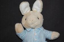"Bunny Rabbit Bunnykins Tan Blue Poseable Pajamas Royal Doulton Plush 9"" Toy"