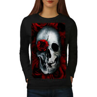 Wellcoda Skulls Rose Flower Womens Long Sleeve T-shirt, Biker Casual Design