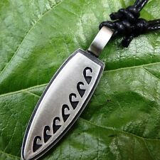 Surfboard Wave Tattoo maori Maui Bora Pewter PENDANT With Cotton Necklace #119
