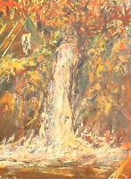 VINTAGE EXPRESSIONIST OIL PAINTING LANDSCAPE WATERFALL SIGNED