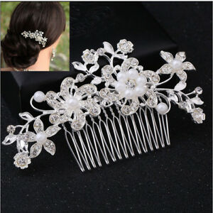 UK Flower Wedding Hair Comb Clips Pins Pearls Diamante Bridal Hair Accessories