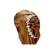 SCHNÄPPCHEN Hochzeit Haarschmuck Silber Blumen Perlen Weiß Kristall Klar 26 cm