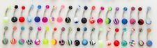 "Mixed Designs and Colors 14g 7/16"" 10 pc pack Acrylic Belly Rings"