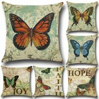 Vintage Butterfly Cotton Linen Throw Pillows Covers Case Decorative Pillow Home