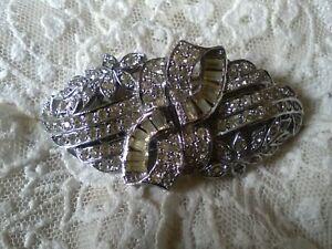 Vintage double duette brooch,diamante c1930s.