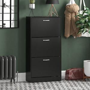 3 Drawer Shoe Cabinet Storage Cupboard Footwear Stand Rack Wooden Unit Black New
