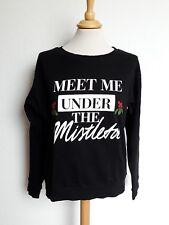 H&M Pullover Gr. S 36 Weihnachten Meet me under the Mistletoe schwarz rot weiß