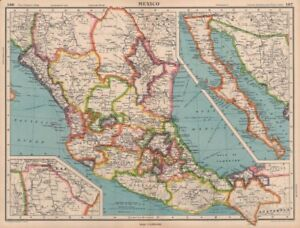 MEXICO. showing states. BARTHOLOMEW 1944 old vintage map plan chart