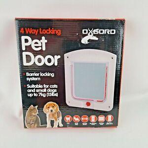 """Dog Cat PET DOOR 9"""" X 8"""" Clear 4 Way Locking Door Easy install OxGord"""