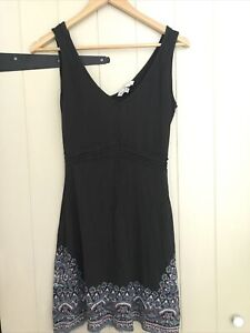 Fat Face Summer Dress Uk 10 Dark Grey Mandala Strappy Semi Fitted