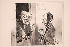 Daumier Lithographie ancienne XIX° Types Parisiens Médisances de Concierge