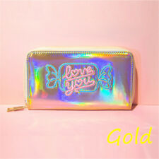 Women's Fashion Hologram Laser Metallic Color Card Holder Coin Purse Wallet