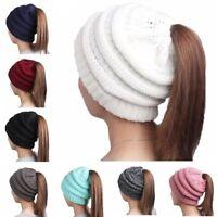 Women's Messy High Bun Ponytail Stretchy Knit Beanie Skull Winter Warm Hat SL