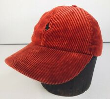 POLO / RALPH LAUREN 1990s Red CORDUROY Embroidered Leather Strap Back Cap Hat